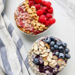 Overnight oats with chia topped with fruit and nuts