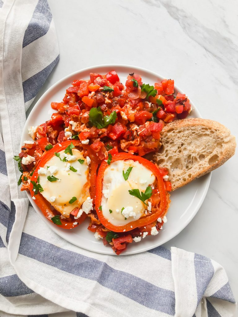 Shakshuka and bread on a plate