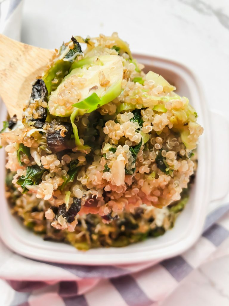 Kale and Mushroom Quinoa Bake in a spoon