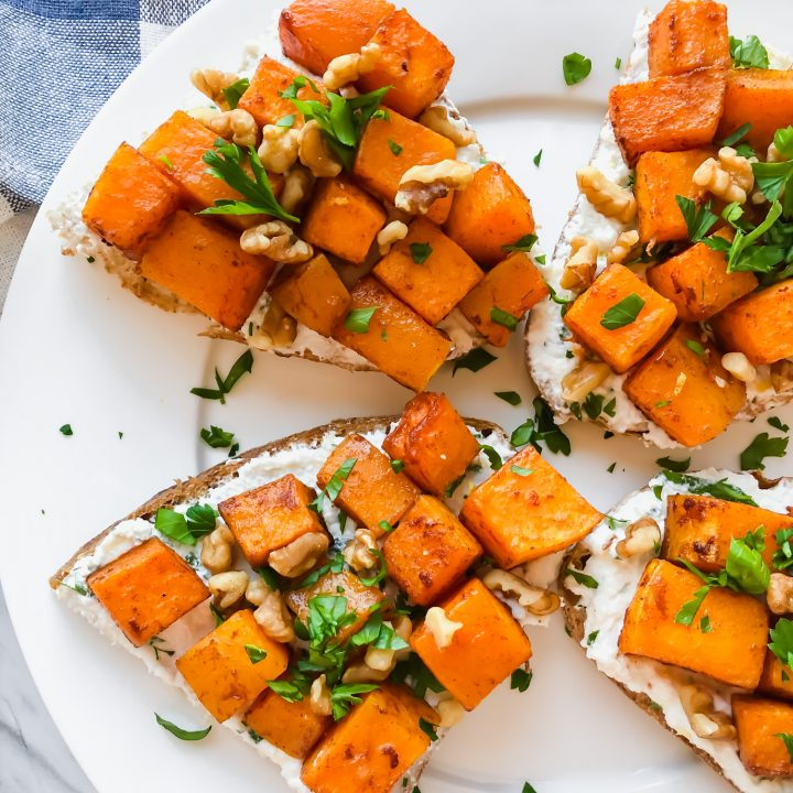 Lemon Ricotta Butternut Squash Toasts on a plate