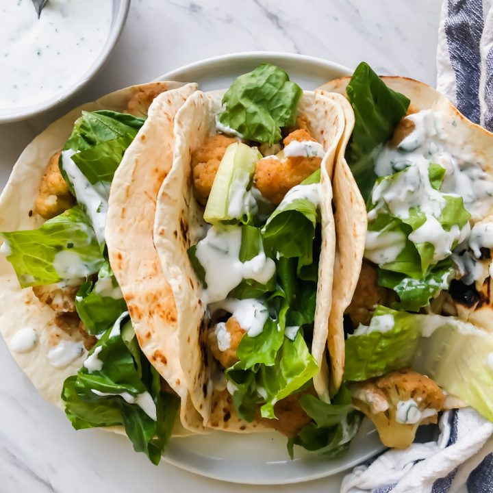 Chickpea Tacos with Cauliflower and Cilantro Lime Sauce