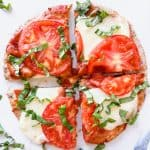 Margherita Flatbread Pizza on a white surface