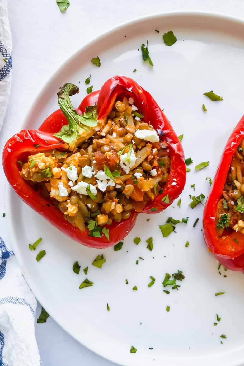 lentil stuffed peppers on a plate
