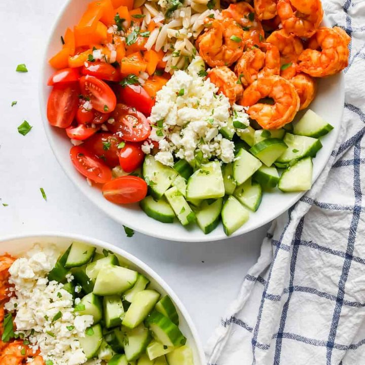 Mediterranean Shrimp Salad in bowls