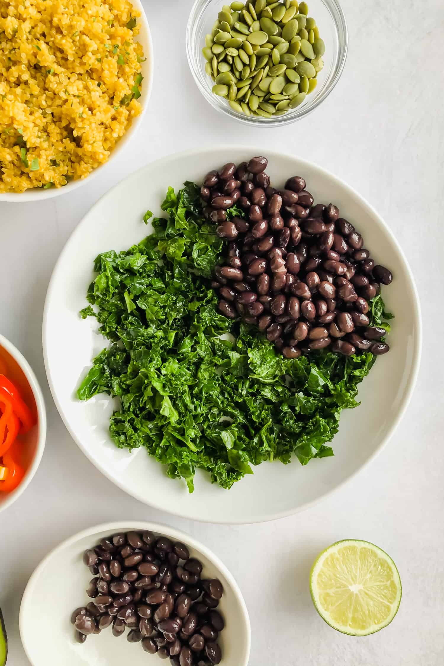 kale and black beans in bowl