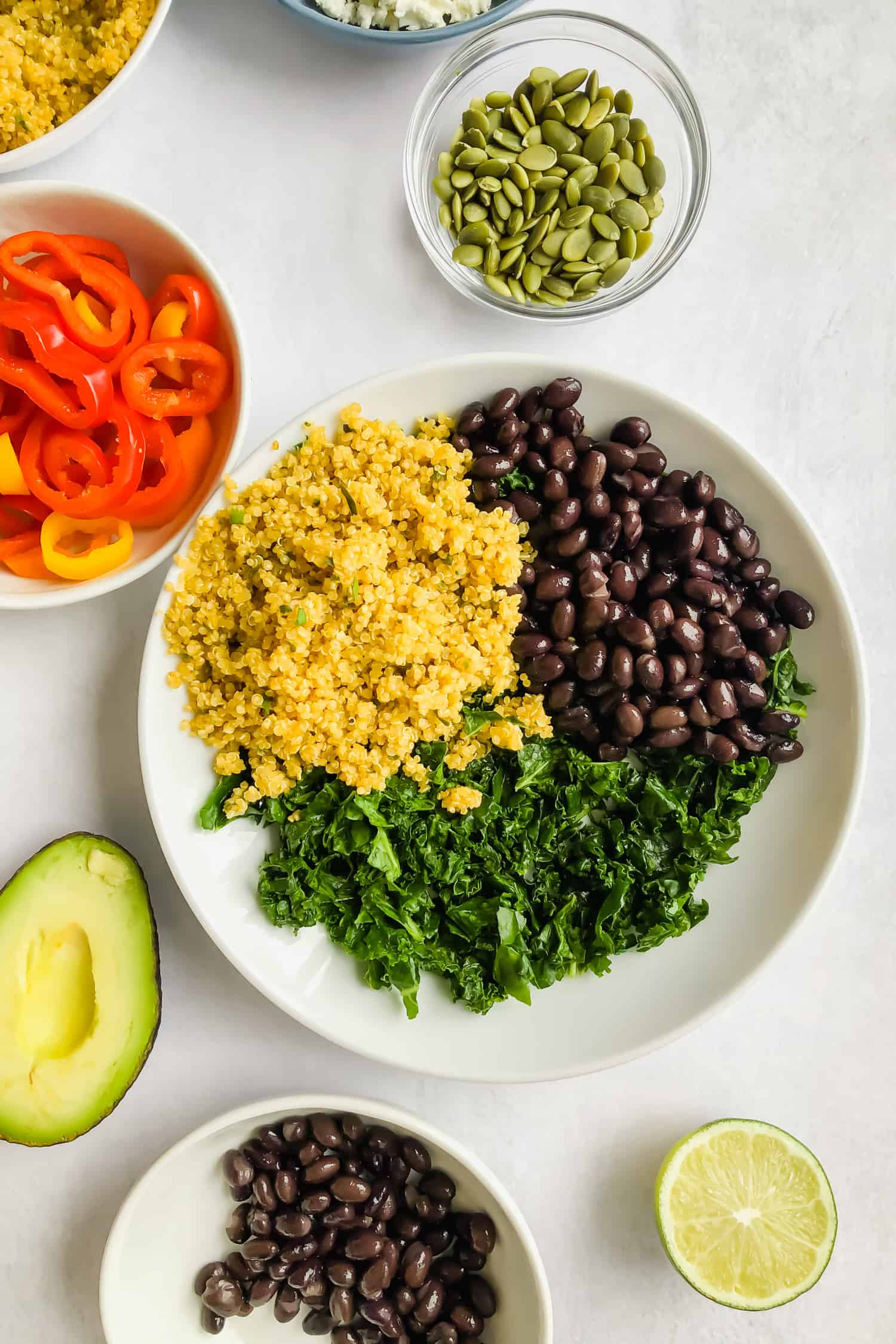 kale, black beans, and quinoa in bowl