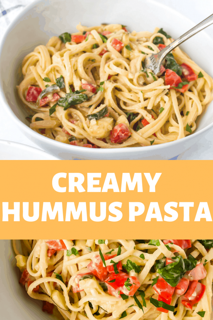 Creamy Hummus Pasta - two image collage with words overlaying the pictures