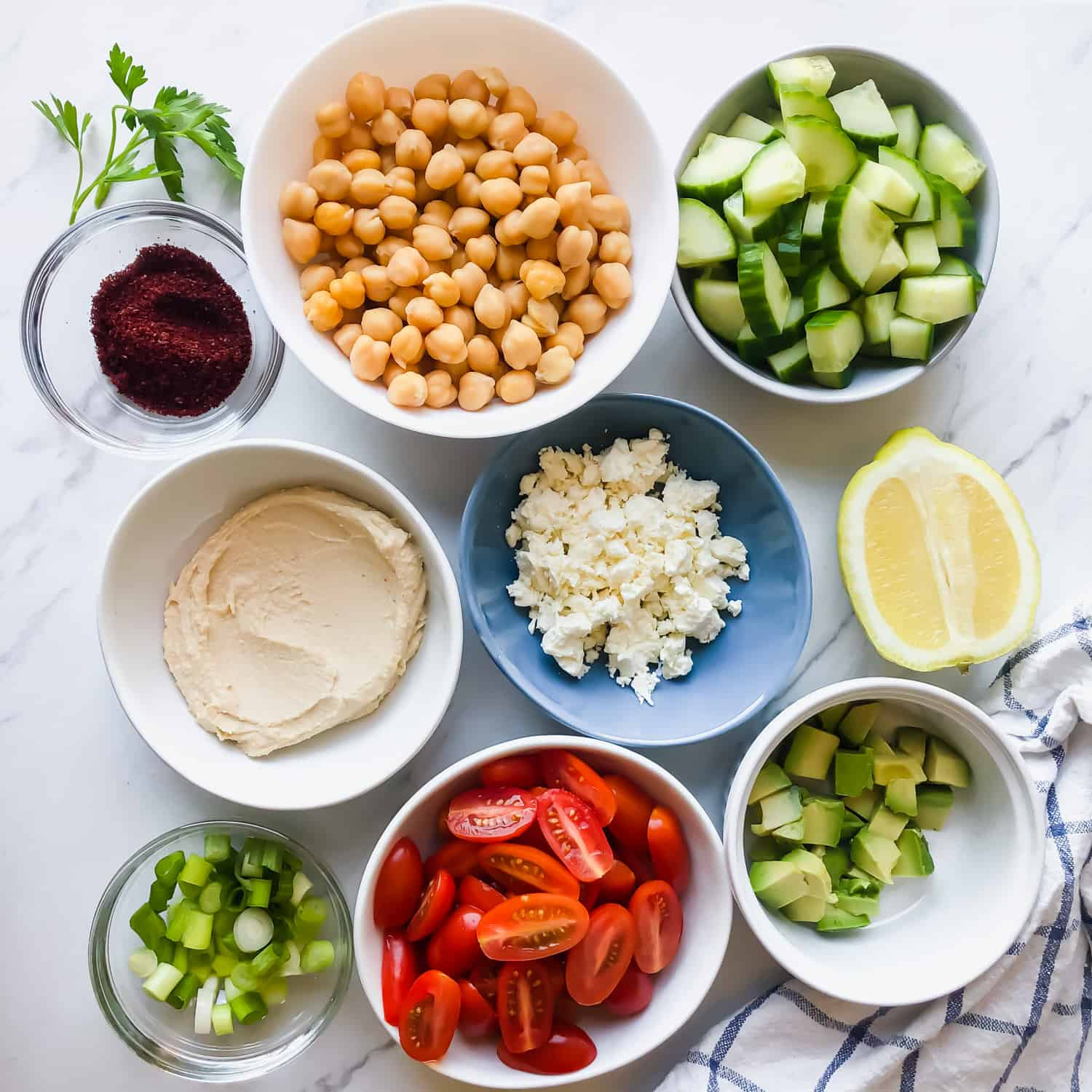 ingredients for Chickpea Avocado Salad in bowls