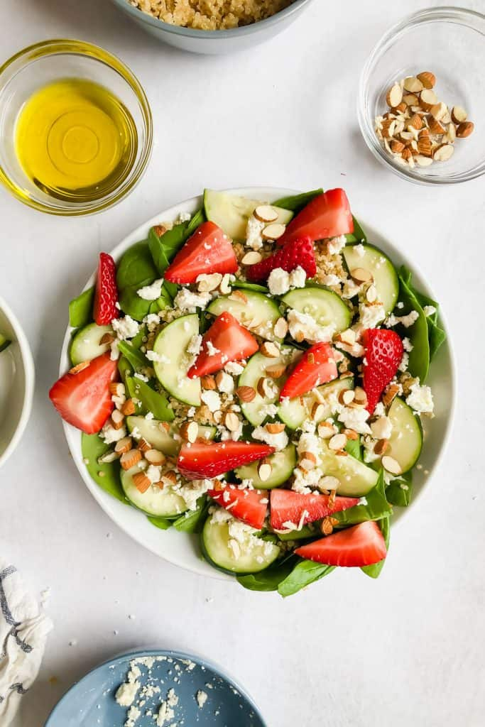 Cucumber Strawberry Salad in a bowl