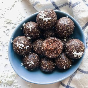 chocolate bliss balls in a bowl
