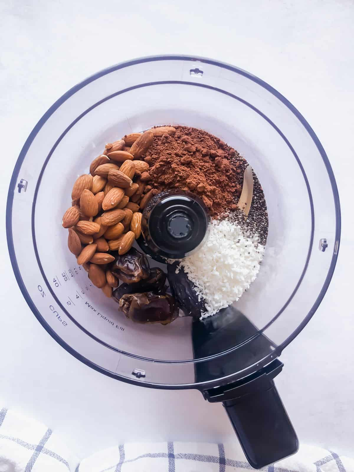 chocolate bliss ball ingredients in a food processor