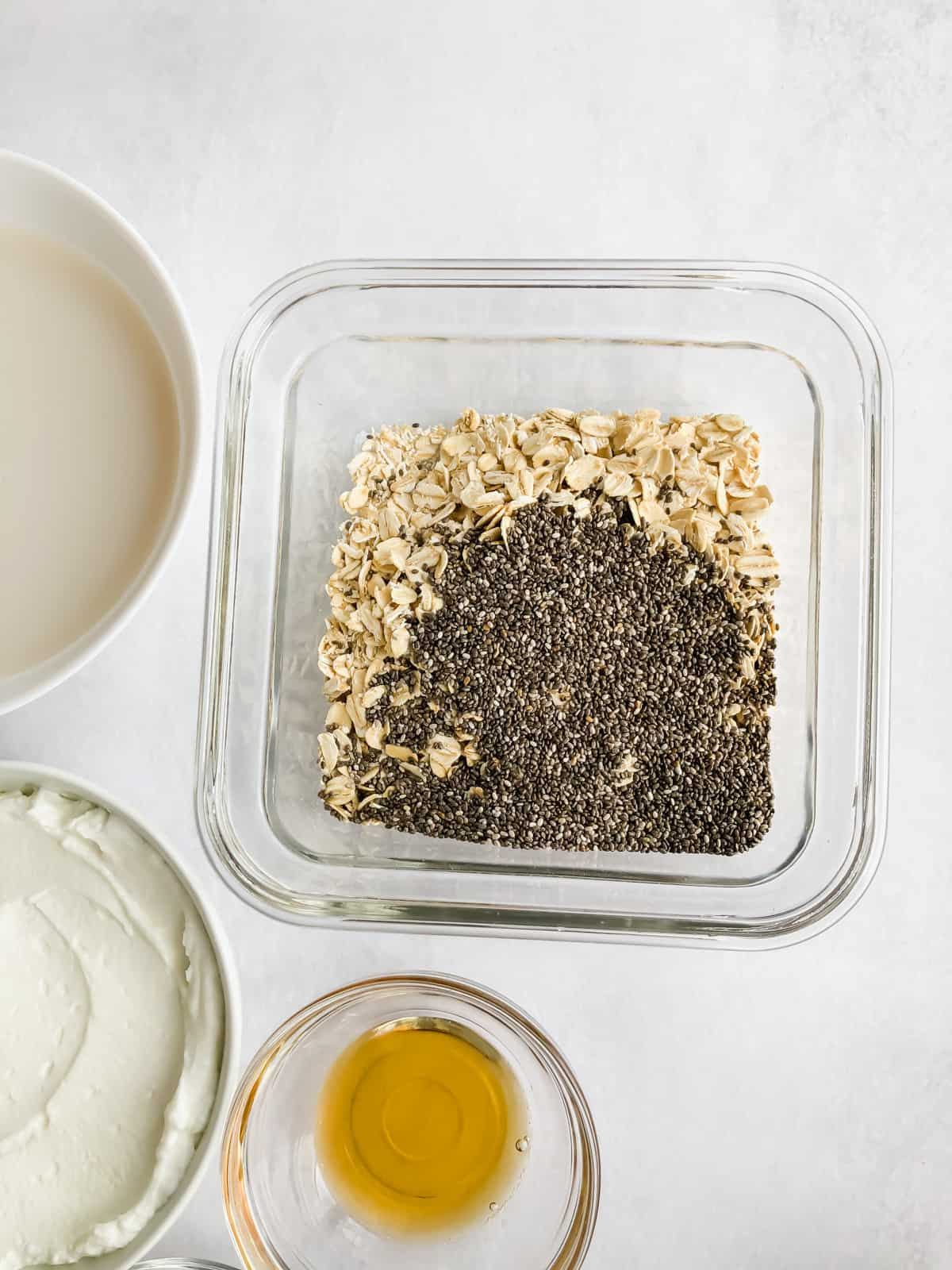 oats and chia seeds in a food storage container