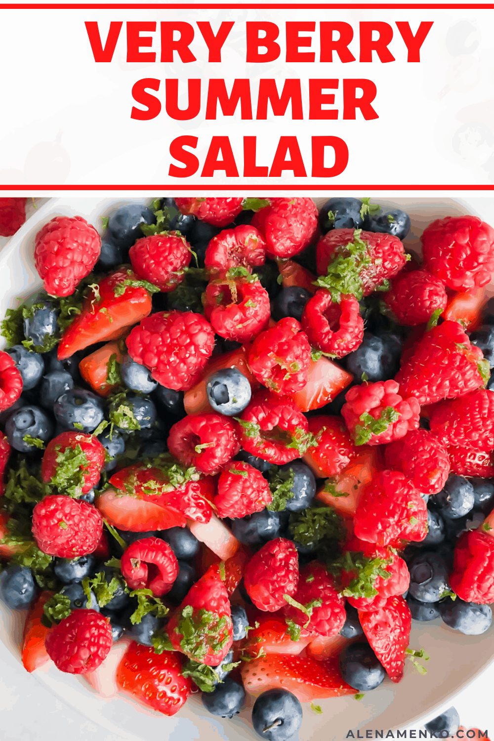 summer berry salad with text overlay