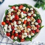 Chopped Spinach Caprese Salad in a bowl