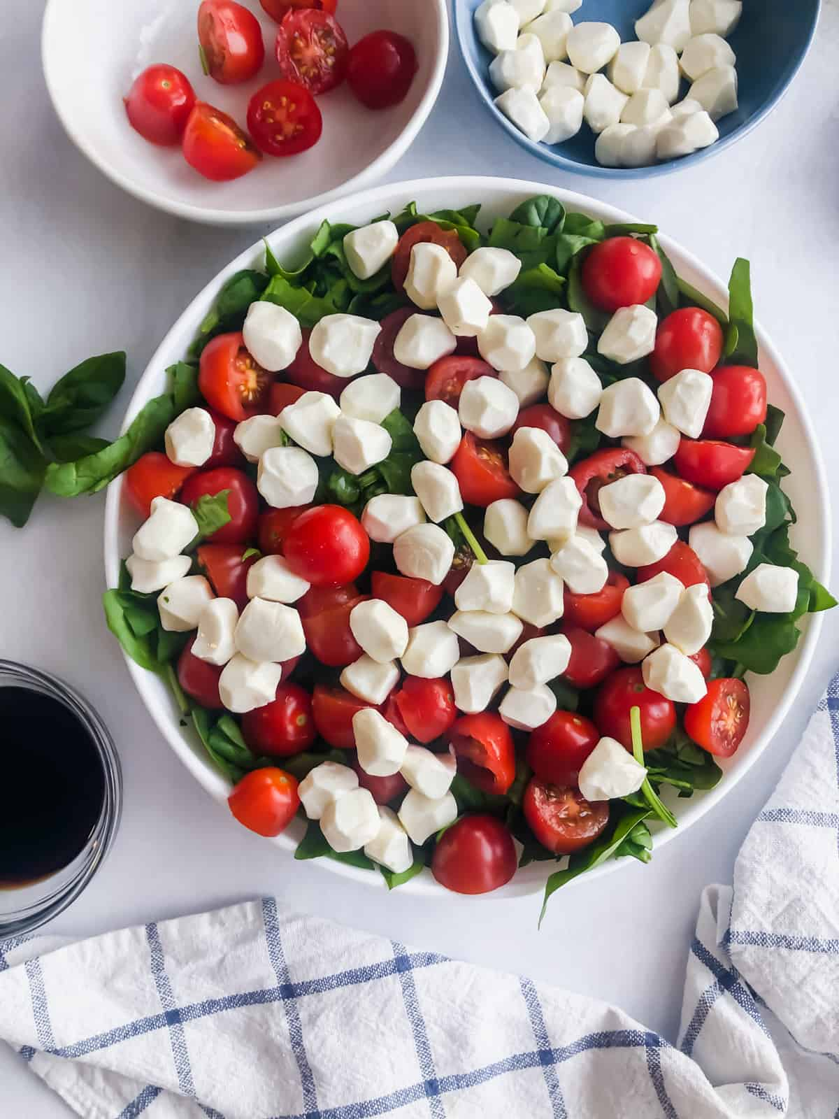 spinach, tomatoes, and mozzarella in a bowl