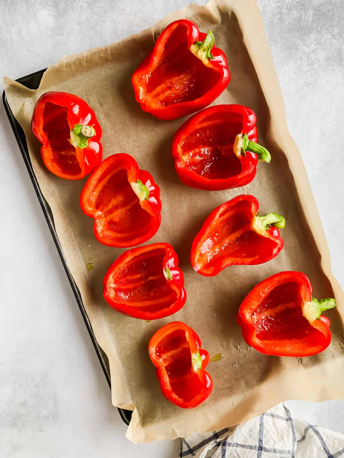 Bell peppers on a baking sheet